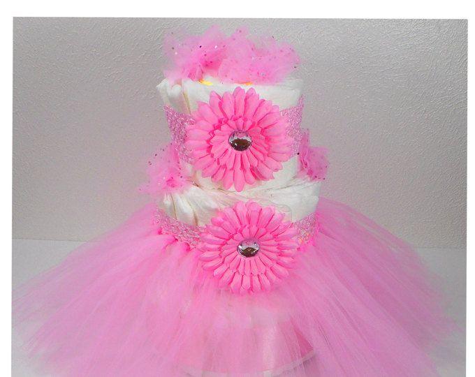 Rosa Tutu pañal Cake - torta de pañales princesa - niña pañal pastel - bebé ducha central - ducha regalo del bebé - tortas de pañales para niñas