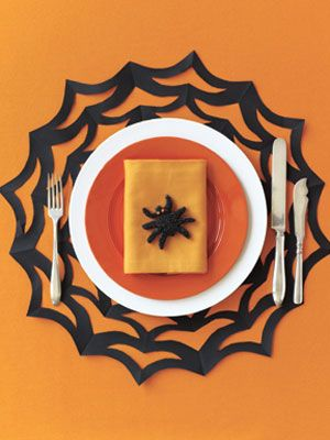 Simply Spooky How-to: Spiderweb Placemat - I just bought three felted webs at the Dollar Store, but it would be fun to make my own....