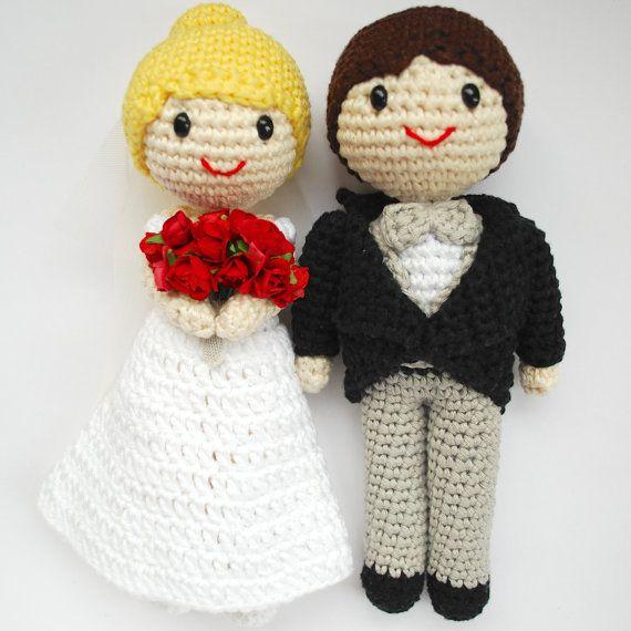Amigurumi wedding couple. Bride and groom cake topper ...