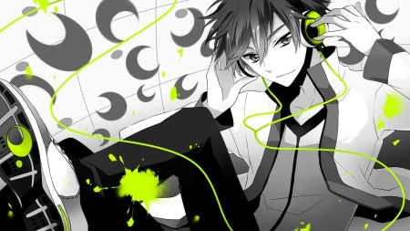 cool anime guy with headphones. ^ ^