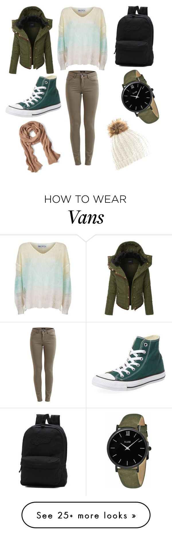 """""""Greeny Beanie"""" by ladyyana87 on Polyvore featuring Wildfox, LE3NO, Converse, Vans, CLUSE and Banana Republic"""