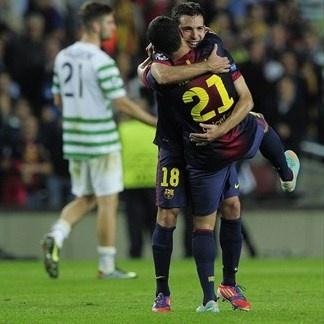 Jordi Alba & Adriano, FC Barcelona 2-1 Celtic. 23.10.12
