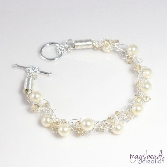 Cream Pearl Crochet Silver Wire Bracelet, Pearls and Crystals Jewelry, Off White, Classy, Classic, Brides, Bridesmaids, Bridal Jewellery via Etsy