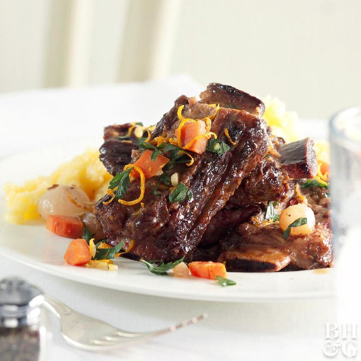 Because short ribs require long, slow cooking for tenderness and flavor, braising is the perfect technique for cooking them. We're sharing a basic recipe to cook them in the oven, stove top, and slow cooker. #shortribs #recipe #slowcooker