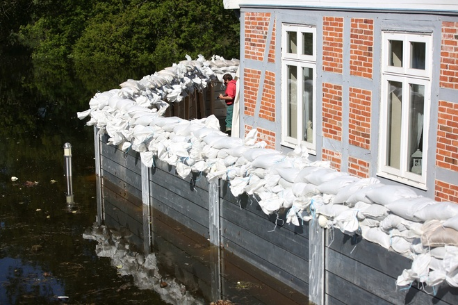 Sandbags and flood defences in Lauenberg on the Elbe, north germany, June 2013