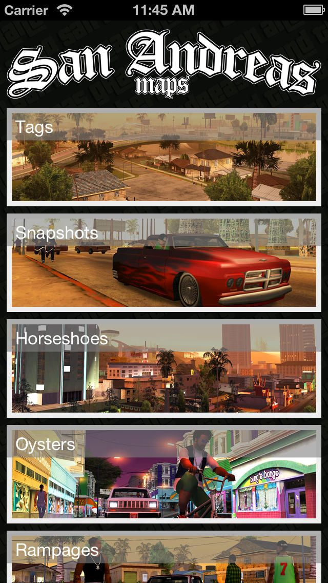 Maps for Grand Theft Auto: San Andreas: You can download here: https://itunes.apple.com/hu/app/id766738401?mt=8&affId=1860684 The best maps app for Maps for Grand Theft Auto: San Andreas.