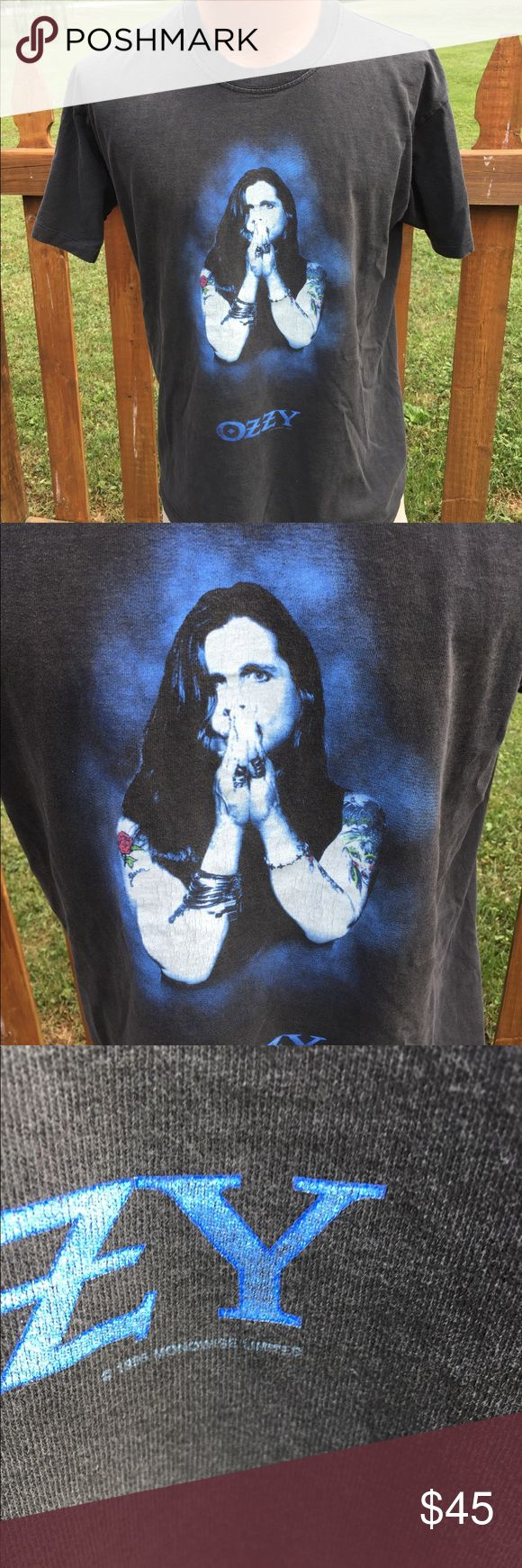"""Ozzy Osbourne Vintage Retirement Sucks Tour Shirt Size large. Super awesome throwback shirt. Some fading to the black as to be expected from age. Measures: shoulder to shoulder: 20"""". Pit to pit: 21"""". Bottom of the collar in the back to the bottom of the shirt: 29"""". Be sure to view the other items in our closet. We offer  women's, Mens and kids items in a variety of sizes. Bundle and save!! We love reasonable offers!! Thank you for viewing our item!! Touch of Gold Shirts Tees - Short Sleeve"""