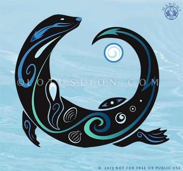 "otter tattoo | Into the Blue"" Private Tattoo commission. for some reason the tribal ..."