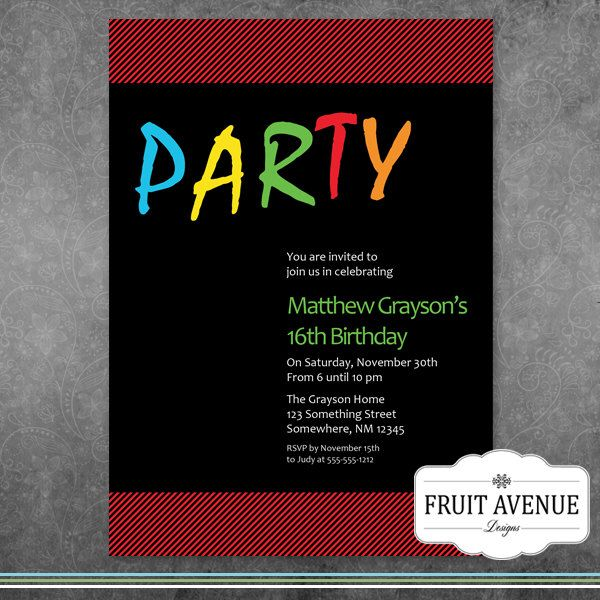 Teenage Boy Birthday Party Invitation - Printable by FruitAvenueDesigns on Etsy https://www.etsy.com/listing/166958220/teenage-boy-birthday-party-invitation