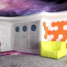 Wizualizacja. Panele Hexa w pokoju małego kosmonauty. Projekt Beautiful Minds.