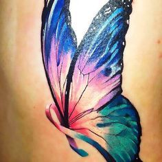Pretty Butterfly Cancer Ribbon Tattoo Idea