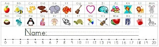 desk nameplates that have the alphabet with the matching sound pictures and also a number line from 0-20.