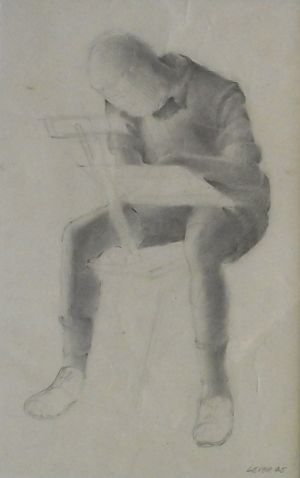 Don Lever, 'Figure Study' Pencil on paper, POA at the Remuera Gallery