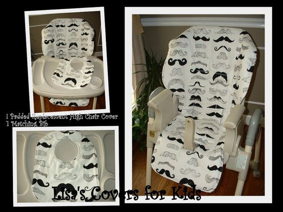 Baby Trend High Chair Cover Replacement Wicker Bar Chairs Mustache And Bib - Universal Size Fits Many Brands ...