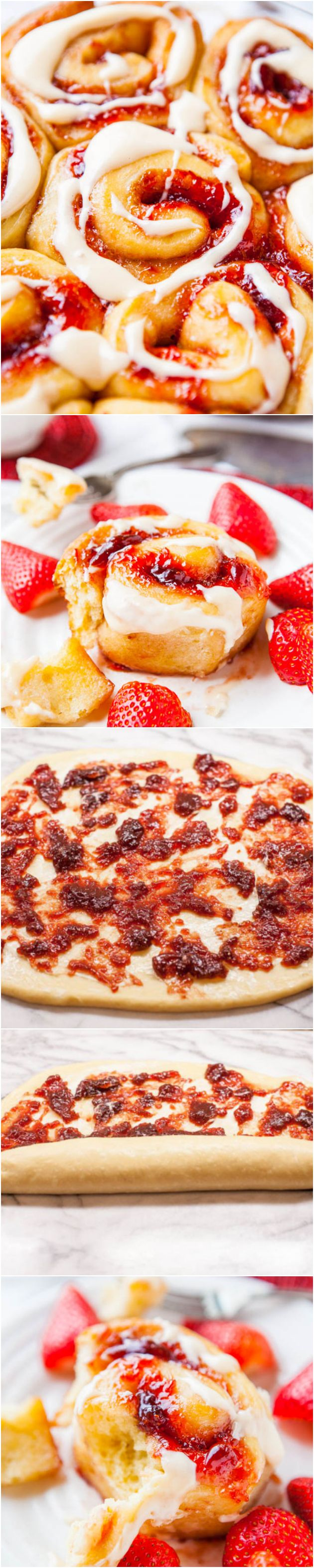 Strawberry Sweet Rolls with Vanilla Cream Cheese Glaze - Soft, buttery rolls loaded with sweet strawberry jam are an automatic hit!  There's an overnight/make-ahead option so you can pop them into the oven whenever you're ready!