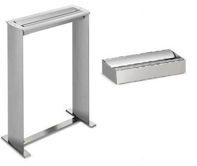 Cenicero exterior - Cenicero de pie y mural de exterior en acero inoxidable. Para exteriores. Estructura fabricada en aluminio extrusionado. Colillero en acero inoxidable satinado. Soporte base en acero inoxidable satinado.