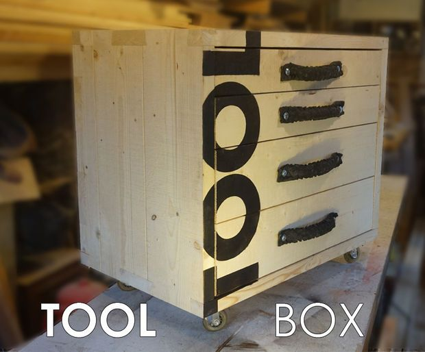 Rugged four drawer tool box on wheels to take all the knocks that work can throw at it.