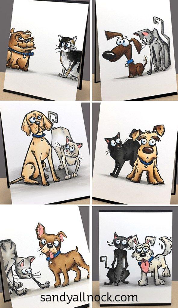 Sandy Allnock - Tim Holtz Crazy Cats n Dogs; Video Tutorial; Basic Copic…