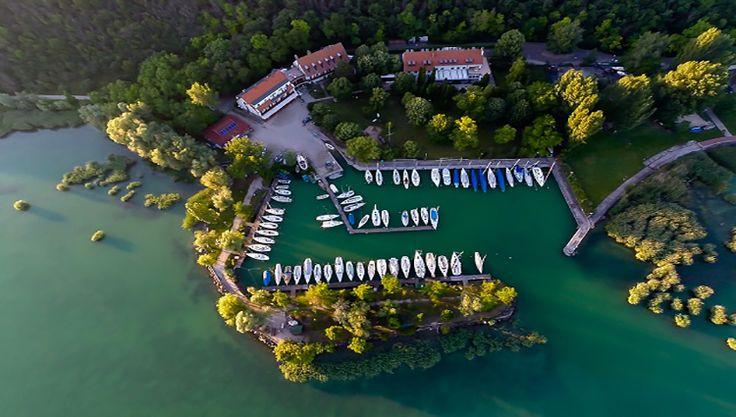 Tihany Yacht Club, from above. Hungary, Balaton