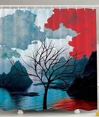 Bamboo Trees Digital Print Polyester Fabric Shower Curtain - Machine Washable - Portable Saunas