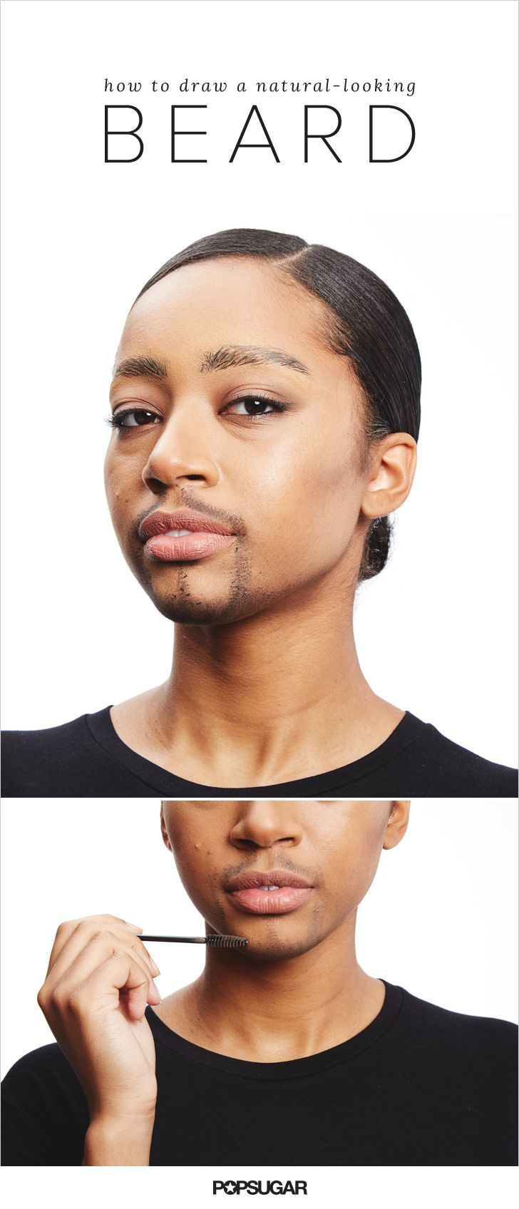 We can predict that male-to-female and female-to-male transformations are going to be superpopular this Halloween. The hardest part of a guy-to-gal gender swap is the facial hair. An authentic beard is all in the application. Use a mascara wand to apply a longwear gel product like Make Up For Ever Aqua Brow ($22) in a stippling motion. Use two separate colors to make it look more like a five o'clock shadow.
