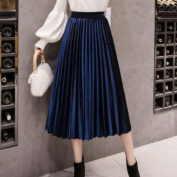 32 07 25 Off تنورة مخملية ضيقة كبيرة سوينغ طويل مطوي النساء التنانير الخريف الشتاء حجم كبير Faldas Saia الإناث Jup Pleated Long Skirt Velvet Skirt Skirts