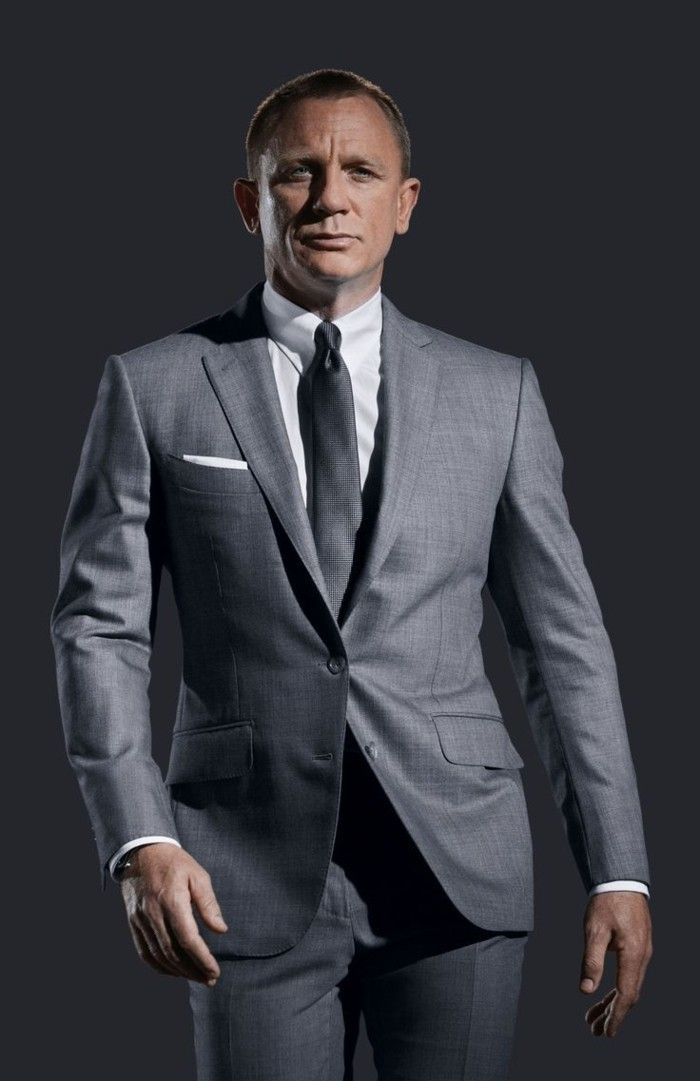 james bond en costume gris anthracite