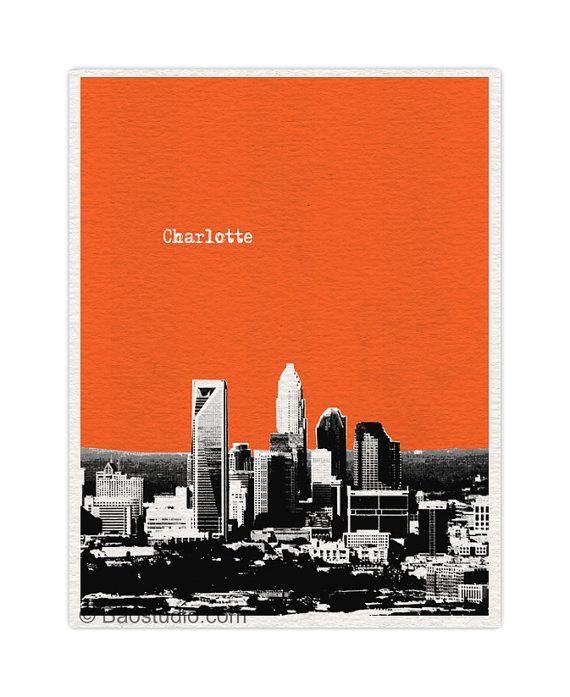 Charlotte skyline art print north carolina nc 8x10 world - Interior design jobs in charlotte nc ...
