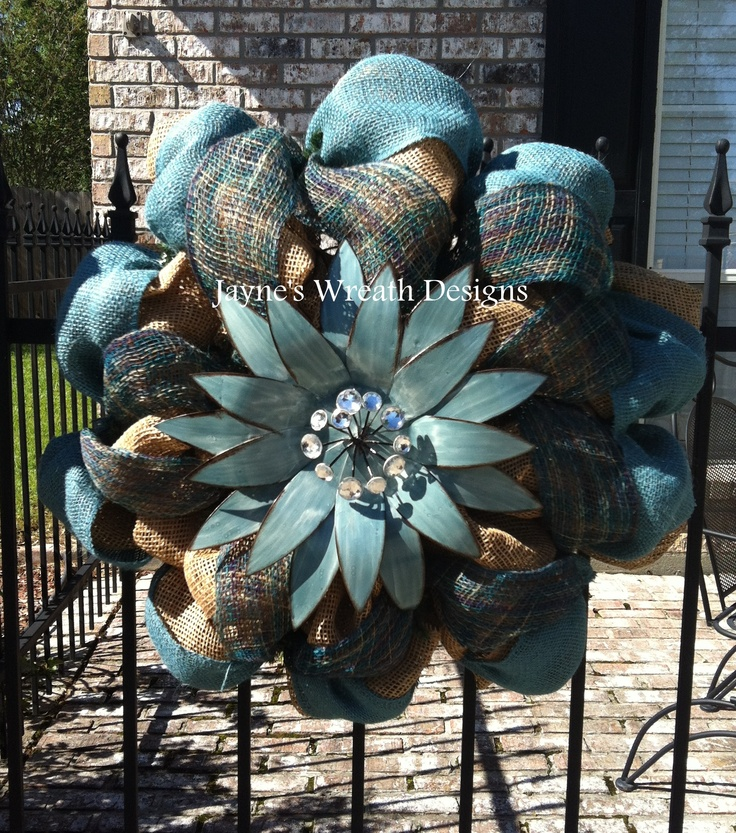 Burlap Wreath with Large Flower