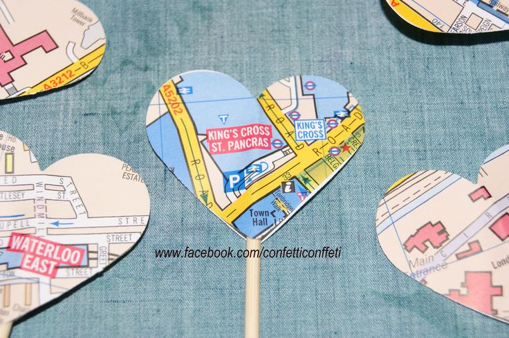 Giant Cupcake Toppers - London Map Hearts