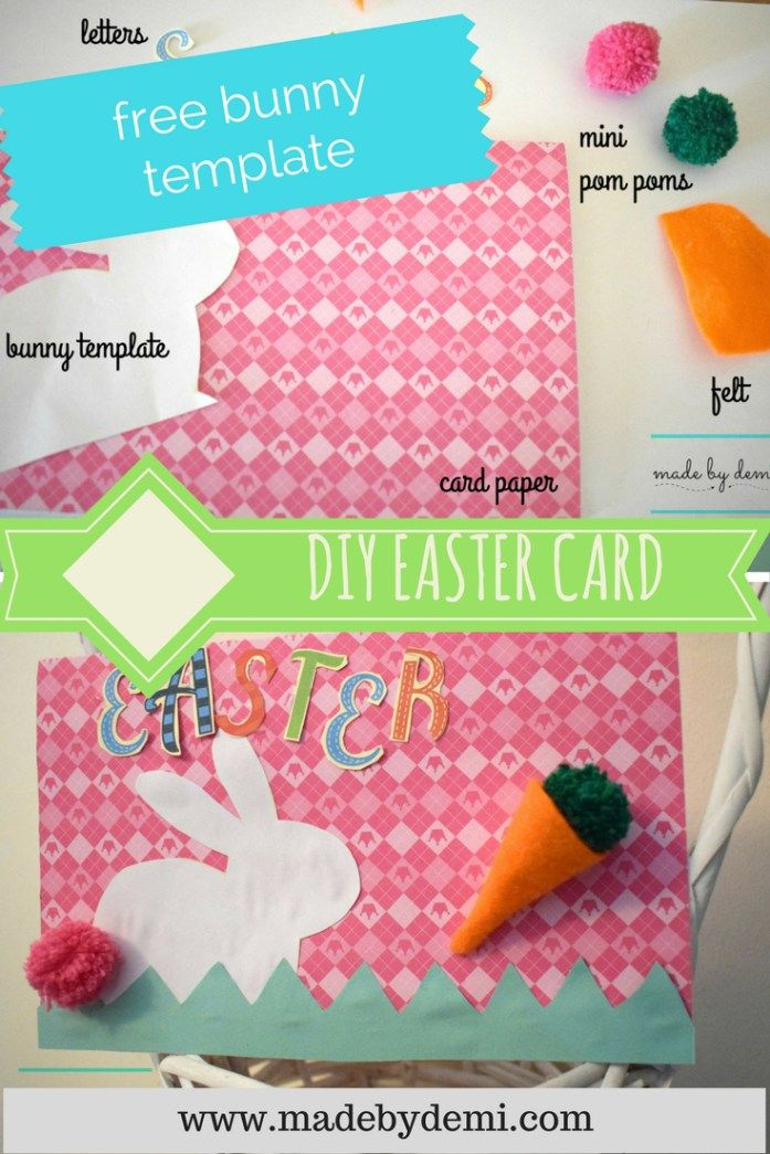 DIY EASTER BUNNY CARD | FREE BUNNY DOWNLOAD | made by demi