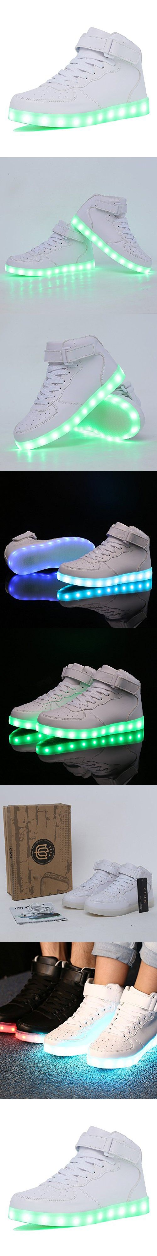CIOR High Top Led Light Up Shoes 11 Colors Flashing Rechargeable Sneakers for Mens Womens Girls Boys For Christmas,101B,02,39