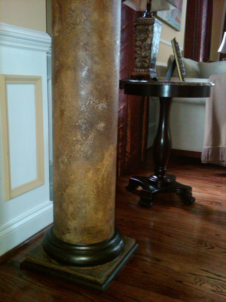 Faux Painted Columns Part - 17: Rich Deeptone Faux Treatment Transformed This Ordinary White Pillar Into A  Beautiful Focal Point That Complements