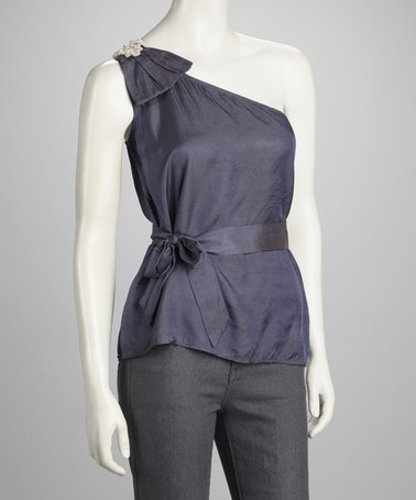 {Charcoal Gray Tied Asymmetrical Top by FAISCA}