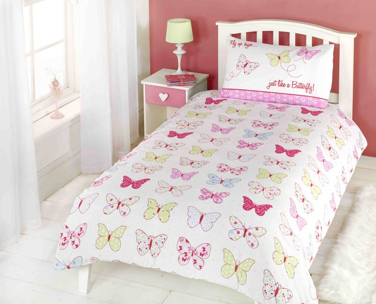 Childrens Girls Butterfly Fly Up High Duvet Cover Quilt Bedding Set Single Pink Blue Yellow White
