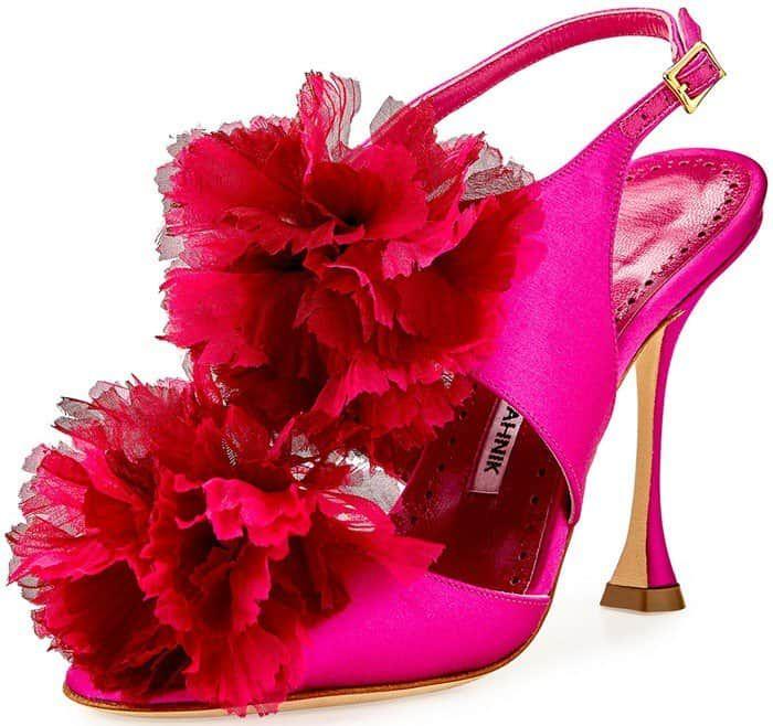 Manolo Blahnik 'Flore' Satin Flower Sandals