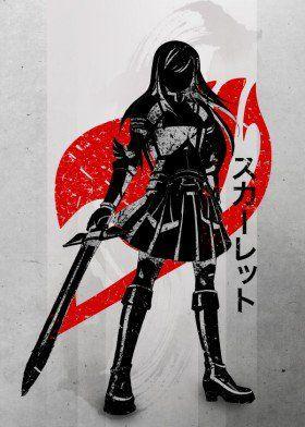 Fairy Tail anime manga japonés japón tinta armadura entintado fanfreak rojo carmesí símbolo negro simple erza scarlett natsu gris botas conjunto cartel op poder espada sworsman dama gris hembra caliente