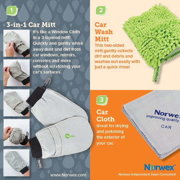 Norwex (1) 3-jn-1 Car Mitt, (2) Car Wash Mitt, (3) Car Cloth. For Facebook parties, online events and marketing.