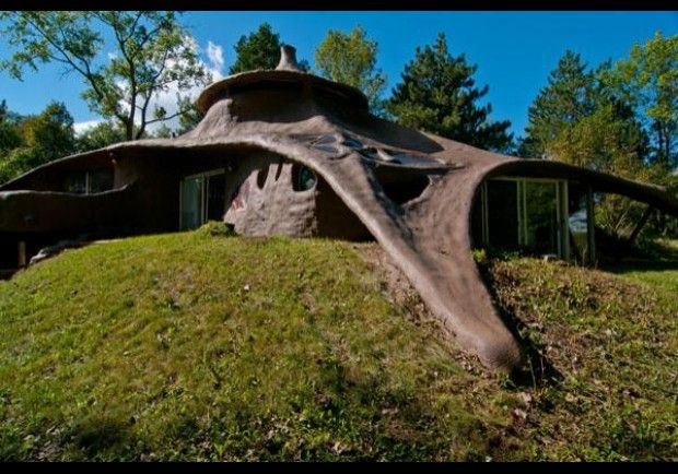"""Foam House, made from Polyurethane Foam Insulation. Futuristic yet reminiscent of the Flintstones' rock chateau, a 4200-""""unsquare""""-foot foam house on 8-plus acres in Minnetrista, Minn., was one of 10 """"ensculptic homes"""" designed by the architect Winslow Wedin. Constructed in 1969 from Polyurethane foam insulation sprayed over steel mesh, the home resembles an overgrown mushroom. Inside, it has two bedrooms, three baths and a fireplace."""