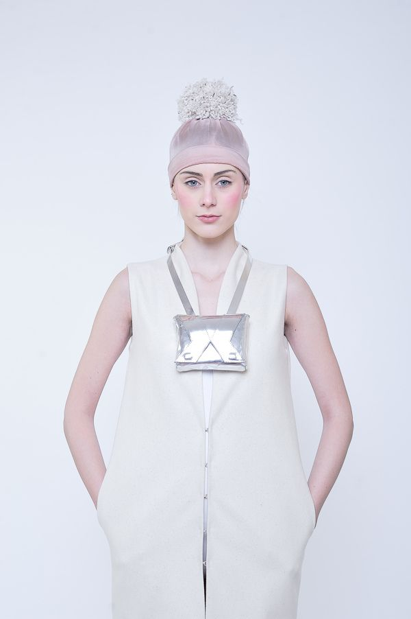 Silver leather bag with digital printed underlining | Alexandra Abraham