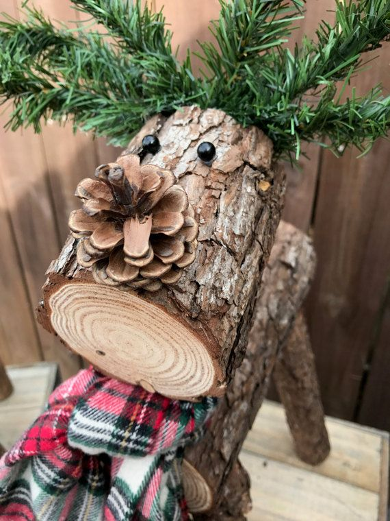 Wooden Log Reindeer by EricaTaylorandCo on Etsy