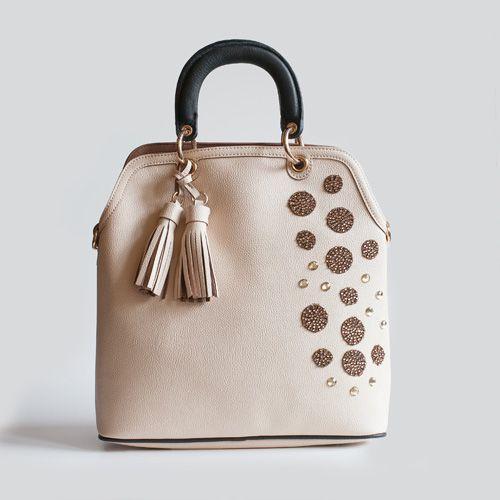 Bico Rosa handbag with woven brown macrame details. Handmade decorations.Adadi Accessories