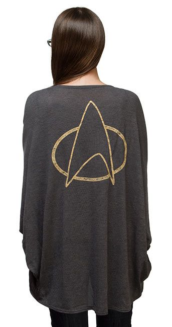 $49.99 Here's a cardi we got from our friends at Mighty Fine that's both comfortable and feminine. It's got a pretty drape and a lovely inset lace detail. In fact, this Star Trek Ladies' Dolman Cardigan may be our latest go-to layer for places that are chillier