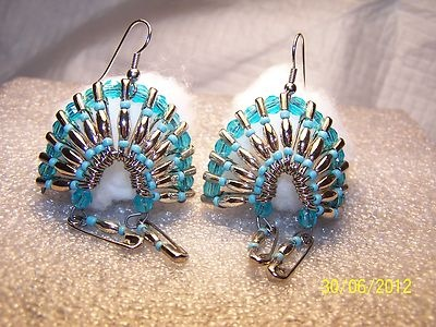 Handcrafted Safety Pin Bead Indian Headdress Pierced Earrings | eBay
