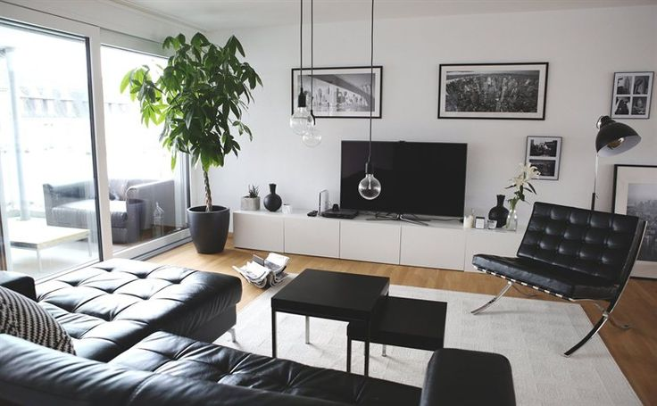 Monochrome living room | Love the giant plant in the corner | See more of Neslihan's home in Switzerland in live from IKEA FAMILY