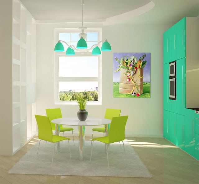 Seafoam and Lime green kitchen