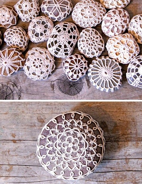 crocheted rocks......I can't believe this.. I have NO idea what I would do with this but I think it's neat