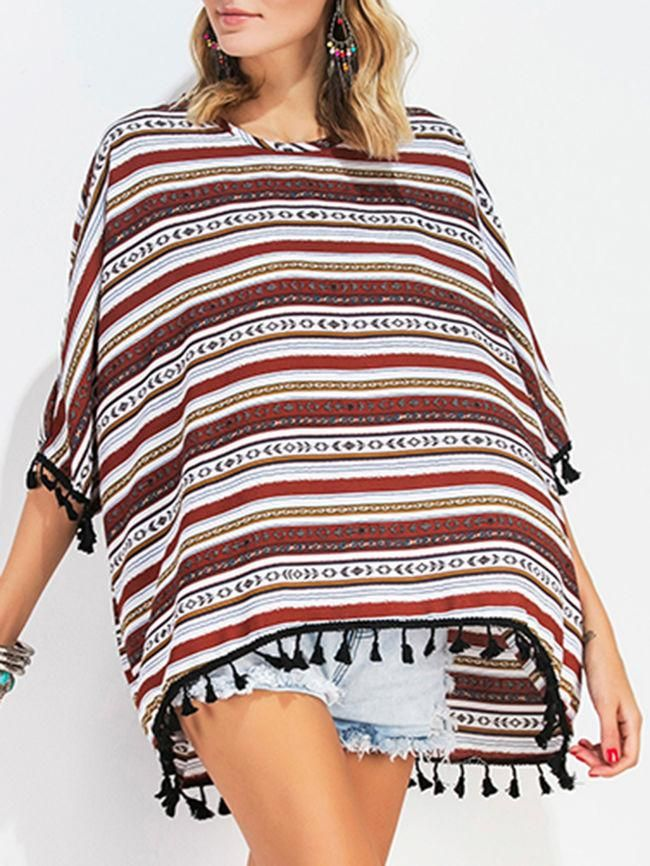 Oversized Tassel Striped Batwing Short Sleeve T-Shirt