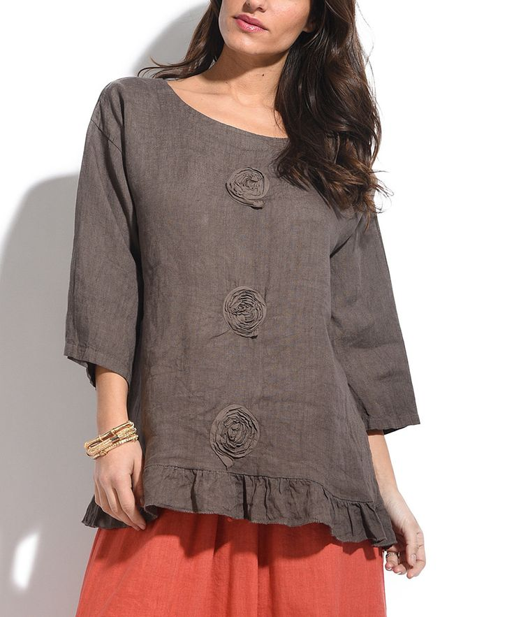 Brown Three-Quarter Sleeve Linen Tunic