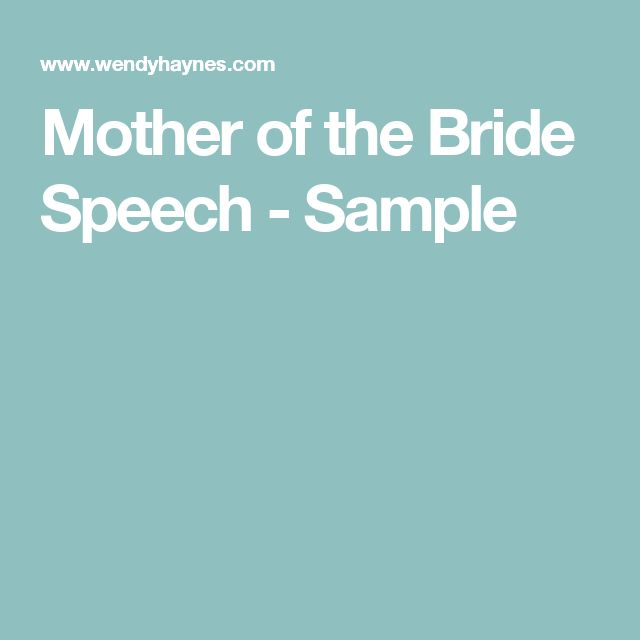 Mother Of The Bride Speech - Sample